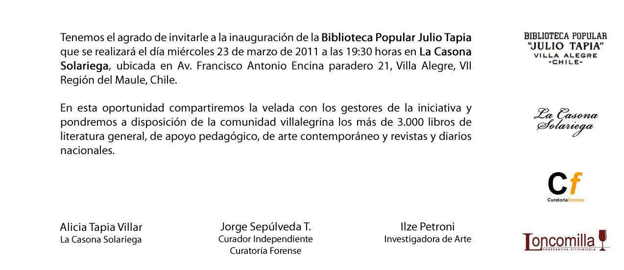 Invitación Inauguración de la Biblioteca Popular Julio Tapia